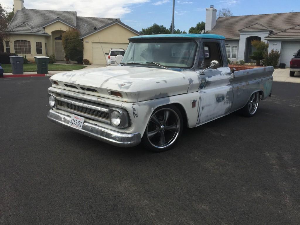 1964 chevy c10 short bed fleetside pickup patina shop truck hot rod v8 for sale. Black Bedroom Furniture Sets. Home Design Ideas