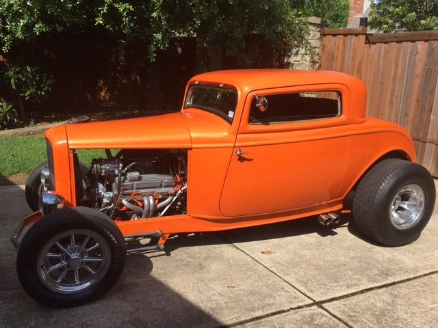 Orange classic 1932 ford 3 window coupe hot rod street rod for 1932 ford 3 window coupe hot rod