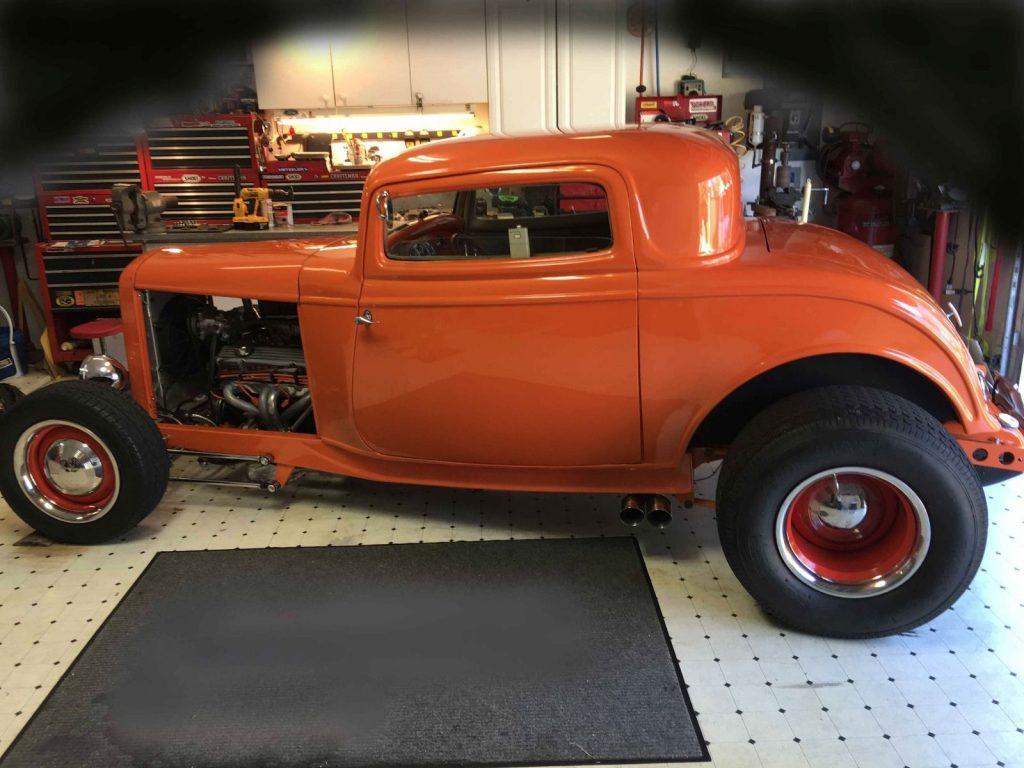 Orange Classic 1932 Ford 3 Window Coupe Hot Rod Street Rod