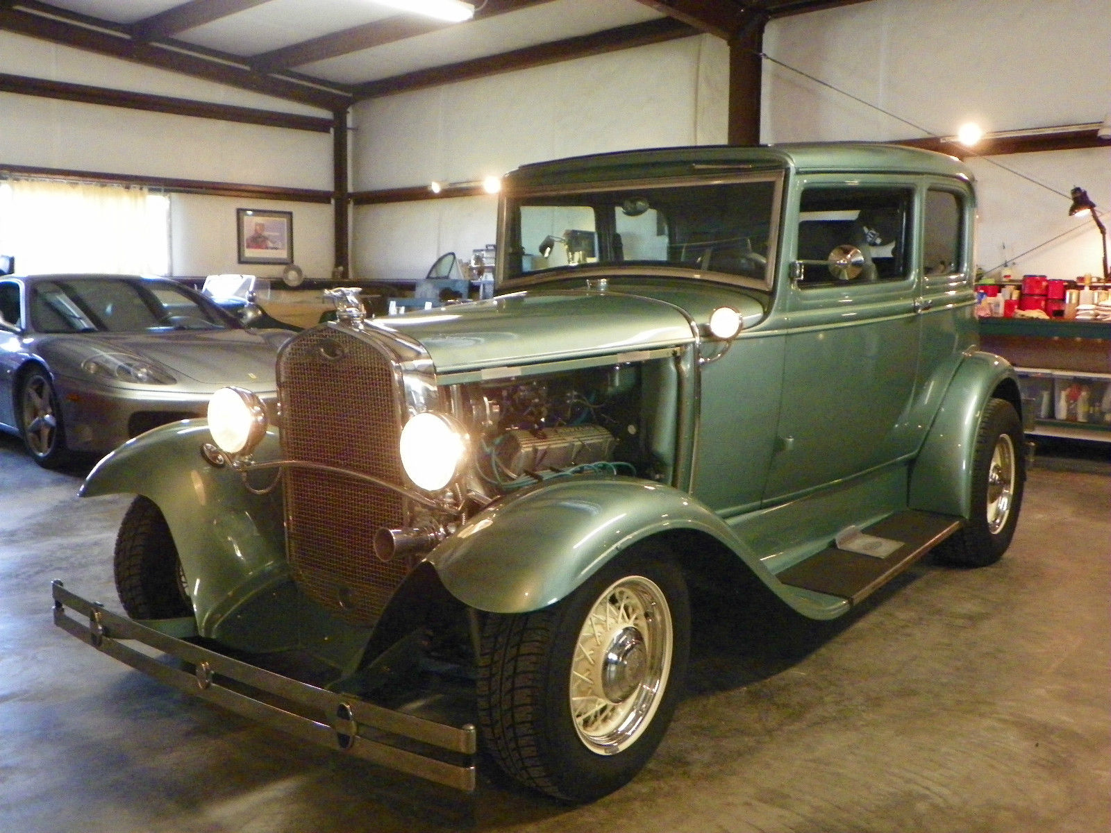 custom frame 1931 ford model a hot rod sea foam green for sale. Black Bedroom Furniture Sets. Home Design Ideas